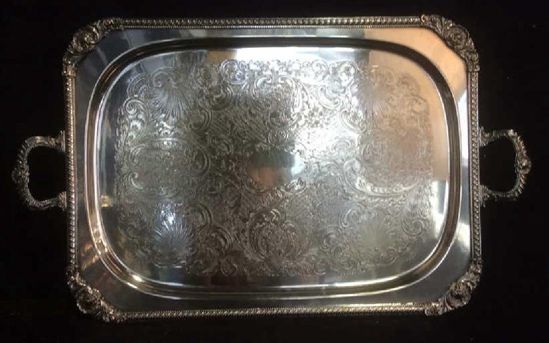 Group Silverplate Footed Tray and Ornate Pitcher Lot of - 2
