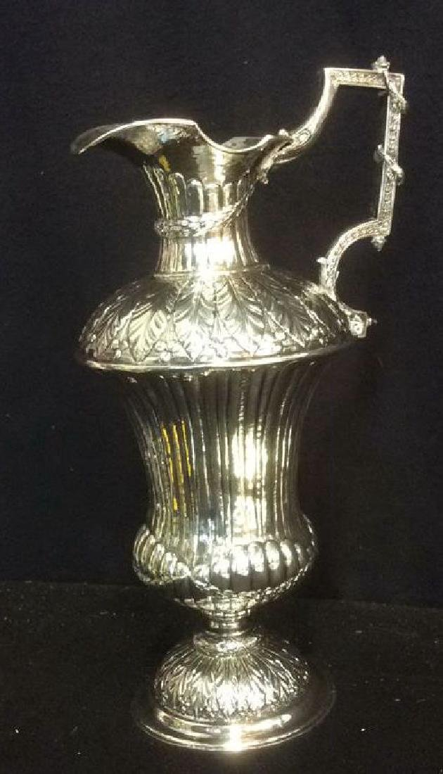 Group Silverplate Footed Tray and Ornate Pitcher Lot of - 5