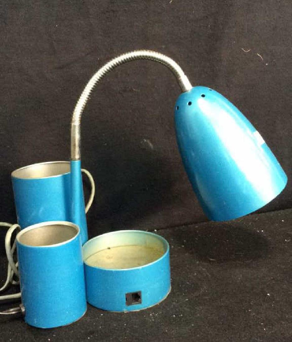 Vintage Blue Enamel Desk Lamp Goose neck domed glazed