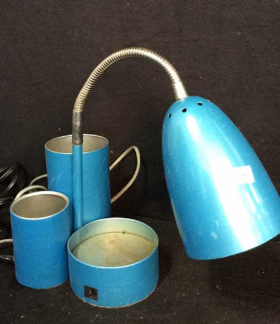 Vintage Blue Enamel Desk Lamp Goose neck domed glazed - 2