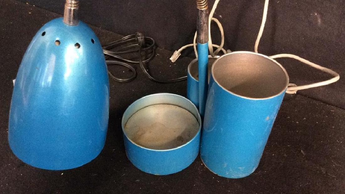 Vintage Blue Enamel Desk Lamp Goose neck domed glazed - 5