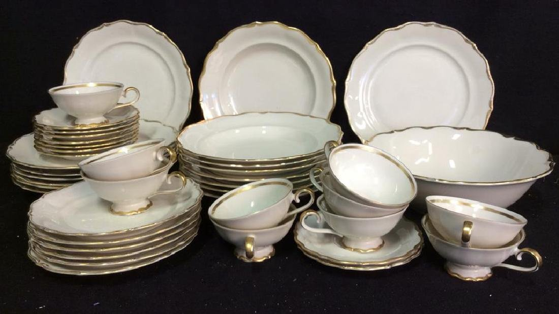 Vintage Gold White Porcelain Dinner Set Each piece go,d