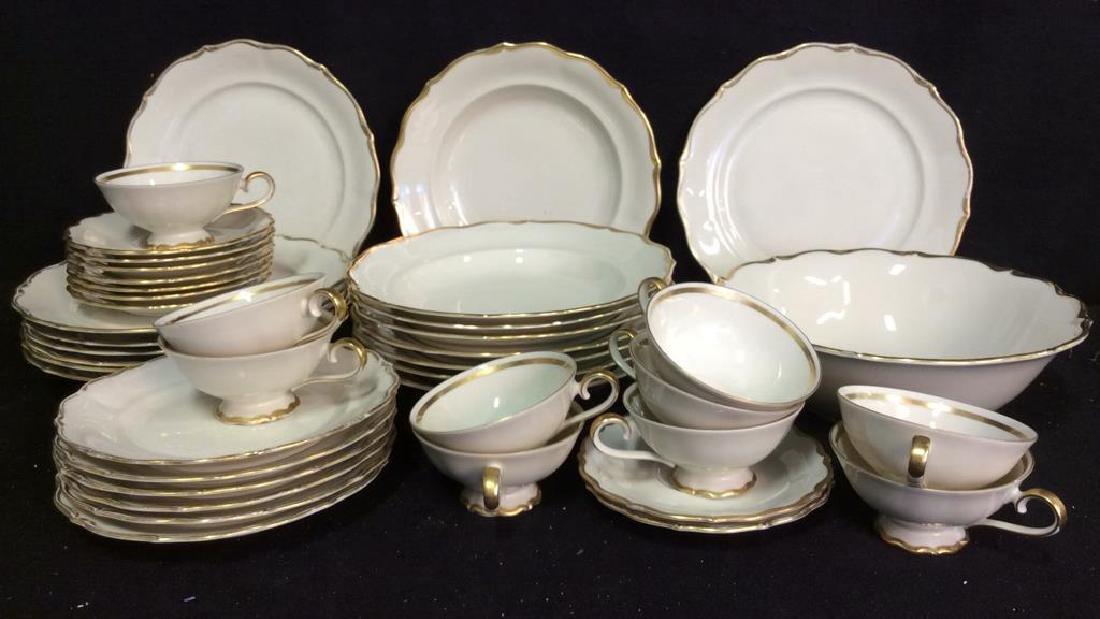 Vintage Gold White Porcelain Dinner Set Each piece go,d