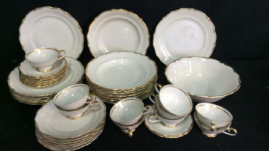 Vintage Gold White Porcelain Dinner Set Each piece go,d - 2