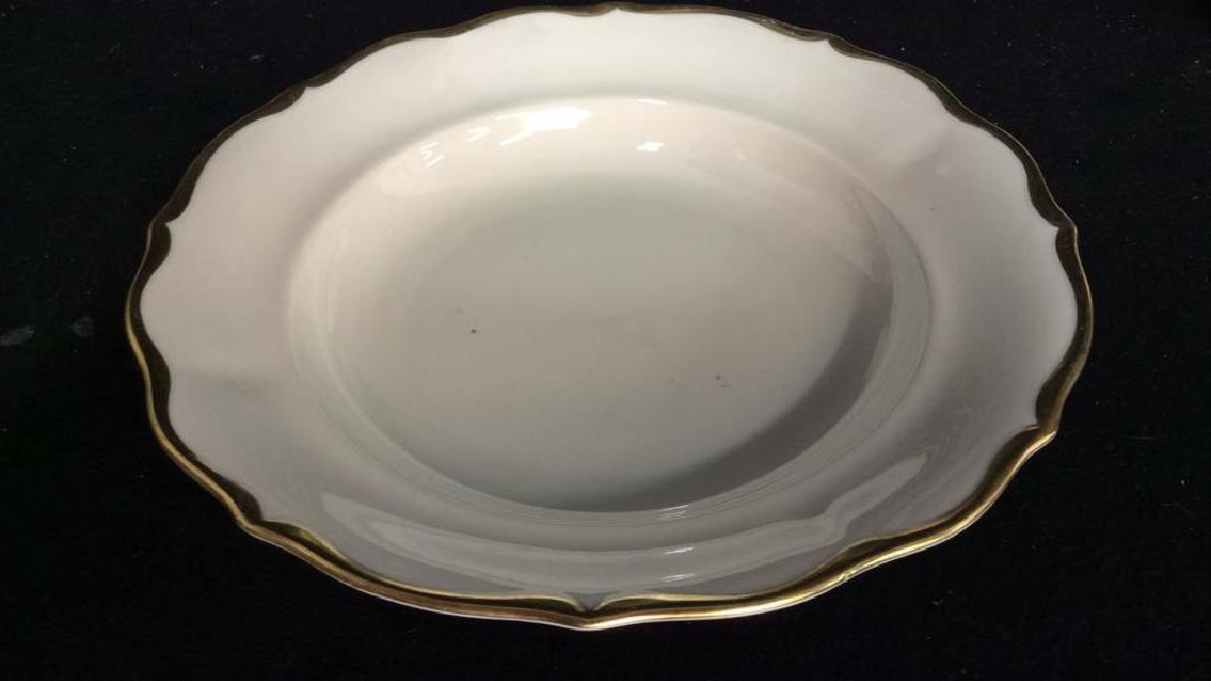 Vintage Gold White Porcelain Dinner Set Each piece go,d - 3
