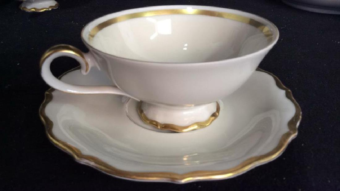Vintage Gold White Porcelain Dinner Set Each piece go,d - 4