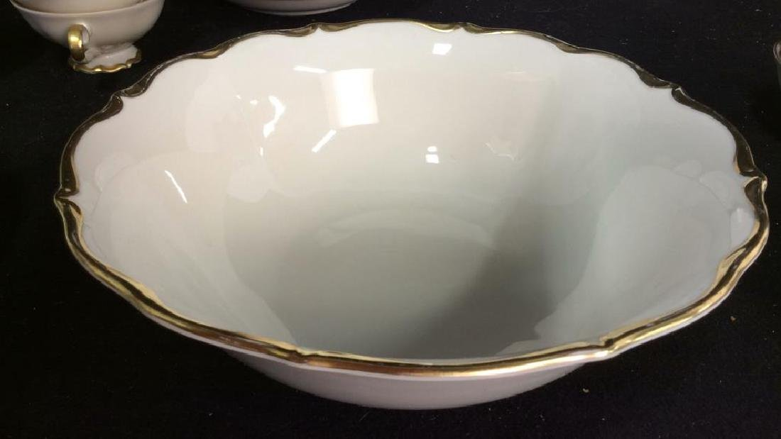 Vintage Gold White Porcelain Dinner Set Each piece go,d - 5