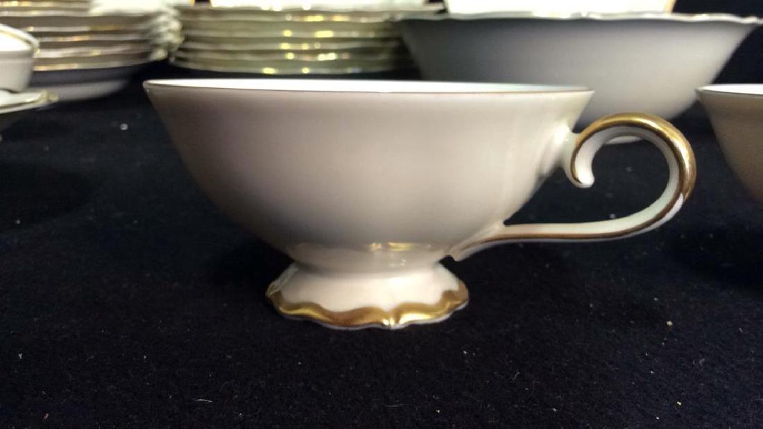 Vintage Gold White Porcelain Dinner Set Each piece go,d - 6