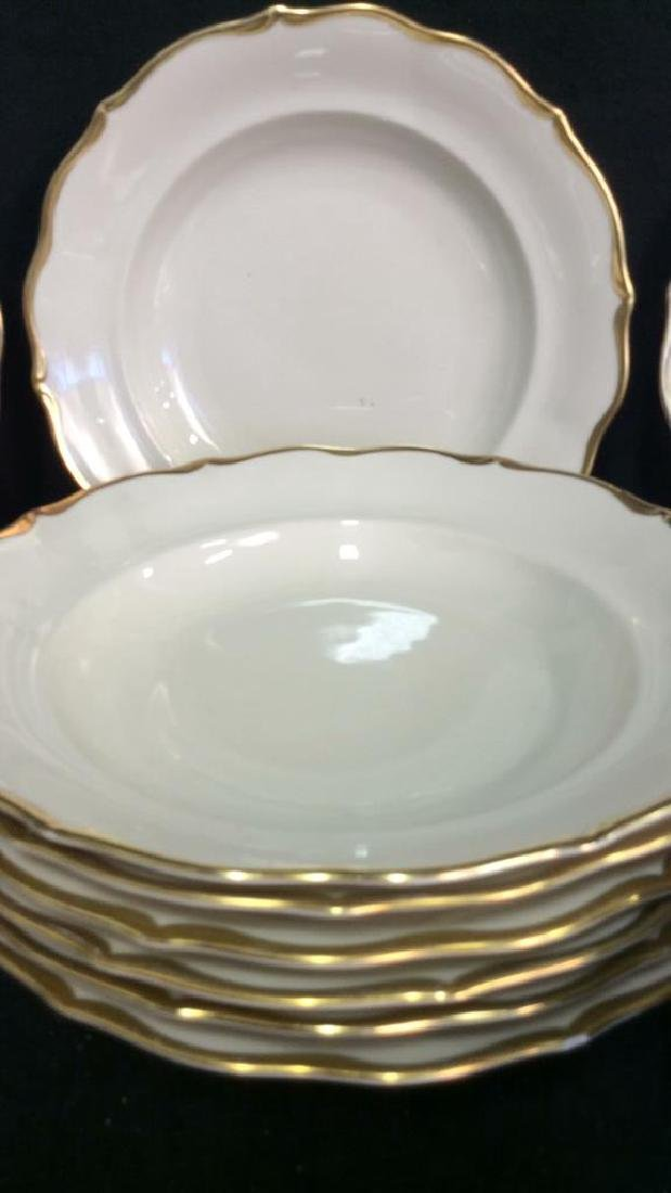 Vintage Gold White Porcelain Dinner Set Each piece go,d - 8