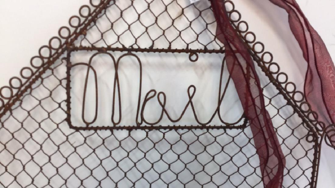 Vintage Metal Mail Holder Scroll metal mail holder, - 2