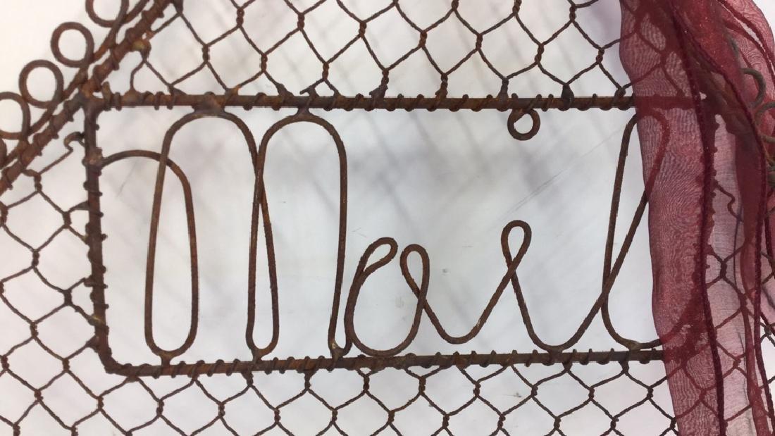 Vintage Metal Mail Holder Scroll metal mail holder, - 8
