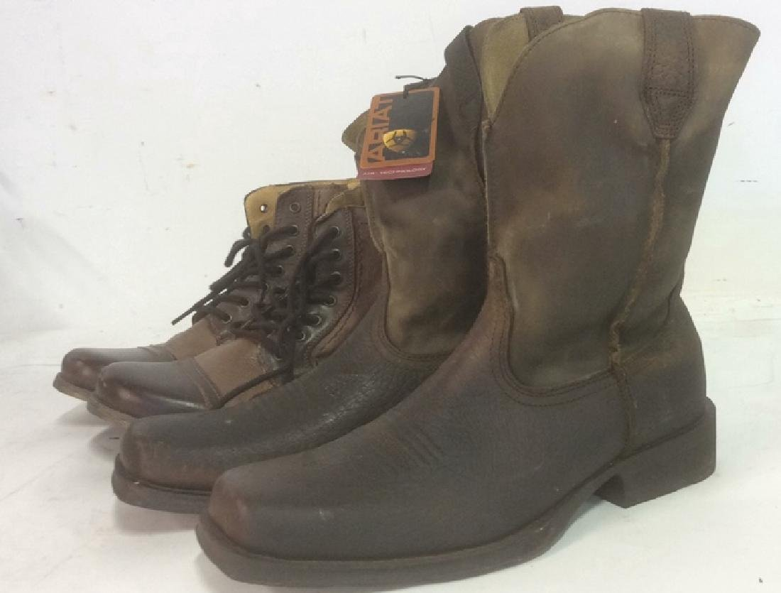 Group Men's Leather Boots Lot of 2 pair Men's Leather