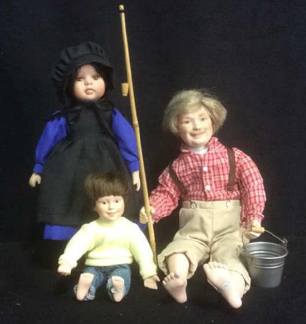 Group Lot Porcelain Country Dolls Lot of 3 porcelain
