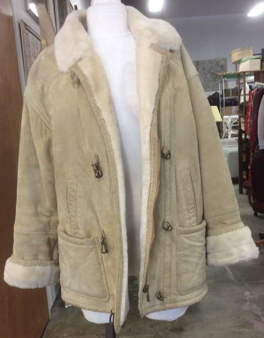 Women's Blonde Leather Jacket Faux Fur Lined Gallery