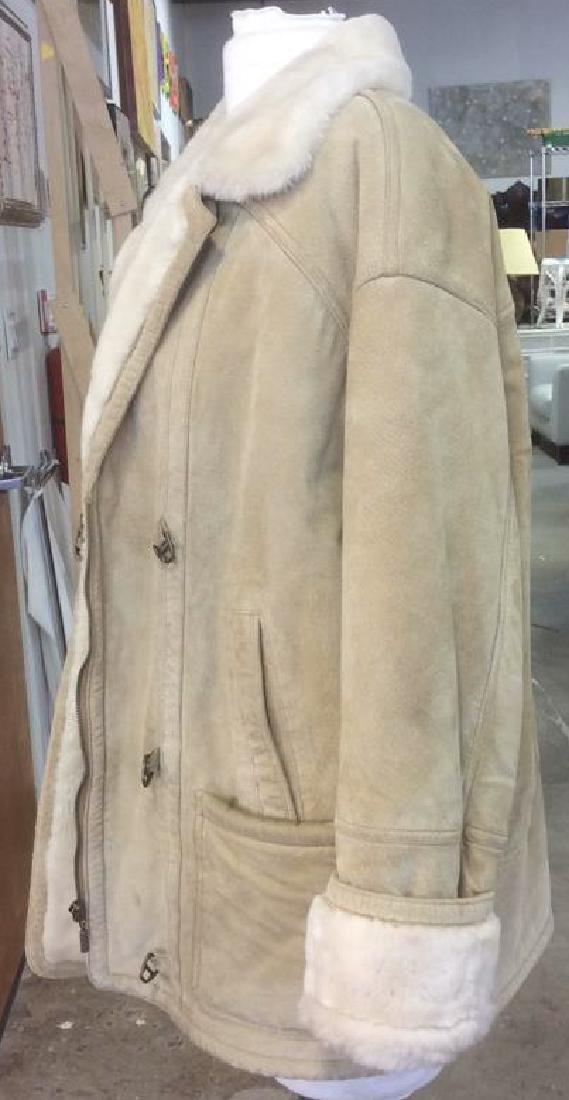 Women's Blonde Leather Jacket Faux Fur Lined Gallery - 2
