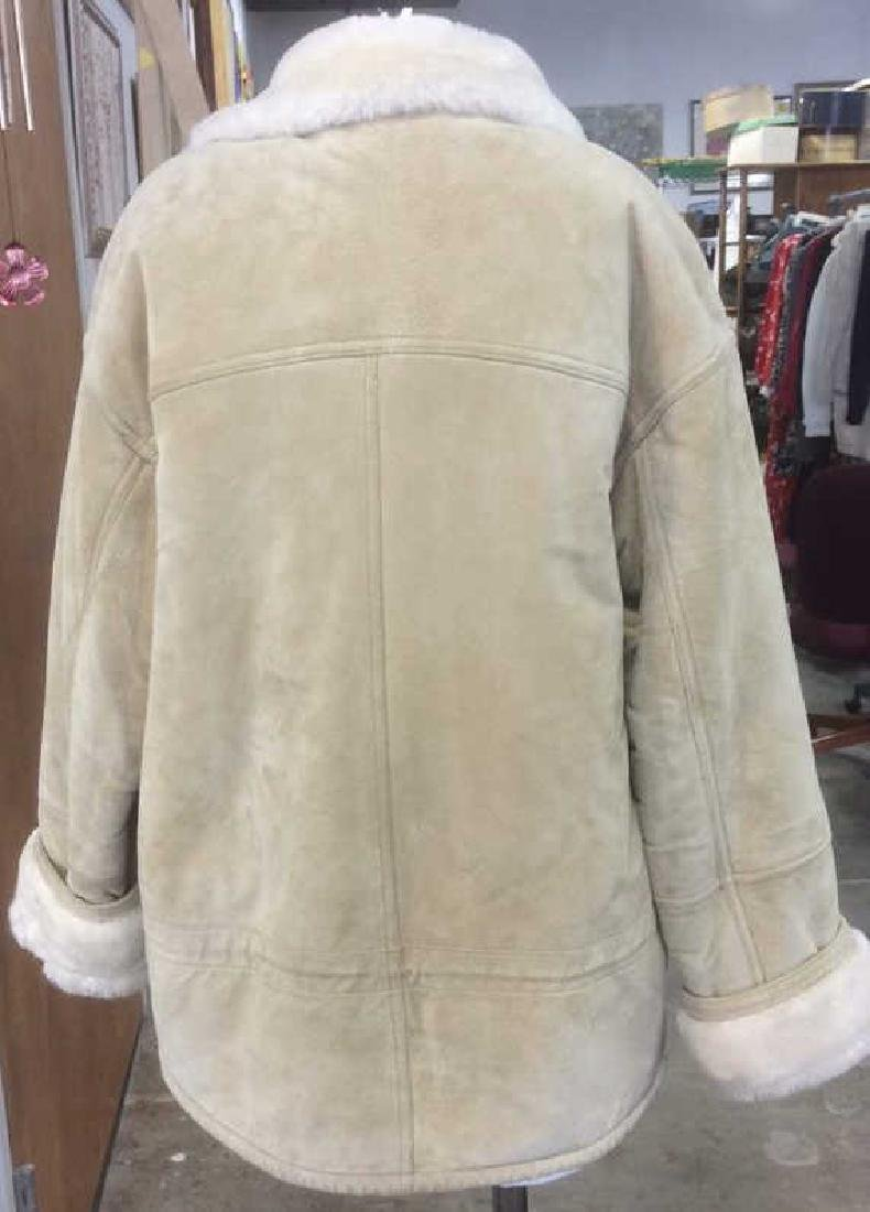 Women's Blonde Leather Jacket Faux Fur Lined Gallery - 3