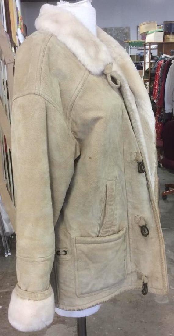Women's Blonde Leather Jacket Faux Fur Lined Gallery - 4