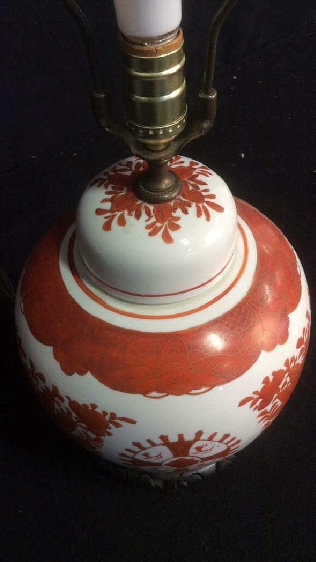 Vintage Asian Handpainted Floral Ginger Jar Lamp - 3