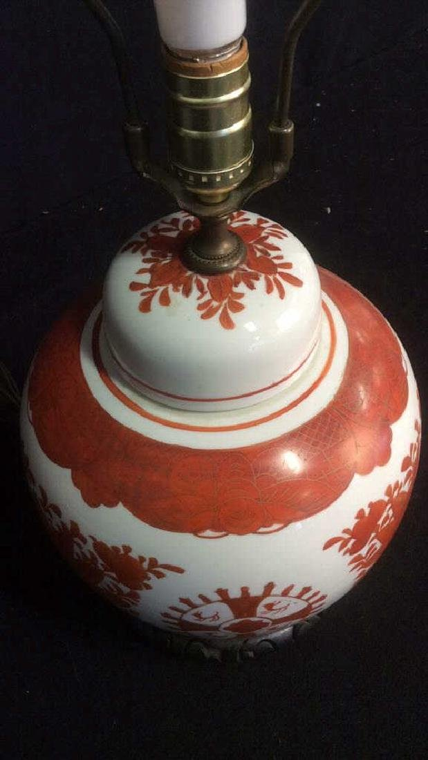 Vintage Asian Handpainted Floral Ginger Jar Lamp - 3