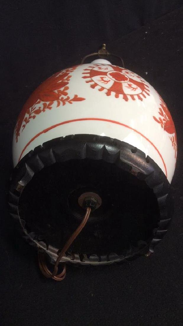 Vintage Asian Handpainted Floral Ginger Jar Lamp - 5