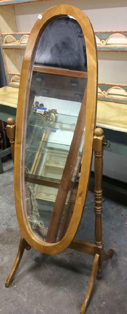 Vintage Floor Tilt Oval Mirror Floor standing Full - 3