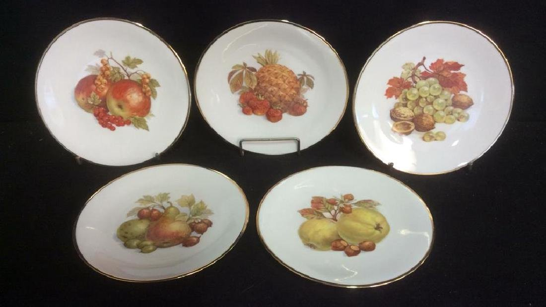 5 Vintage Bareuther Germany Fruit Decor Plates Vintage