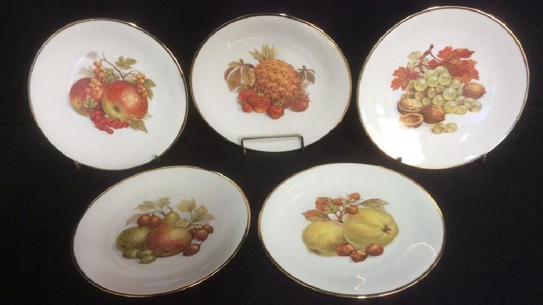 5 Vintage Bareuther Germany Fruit Decor Plates Vintage - 2