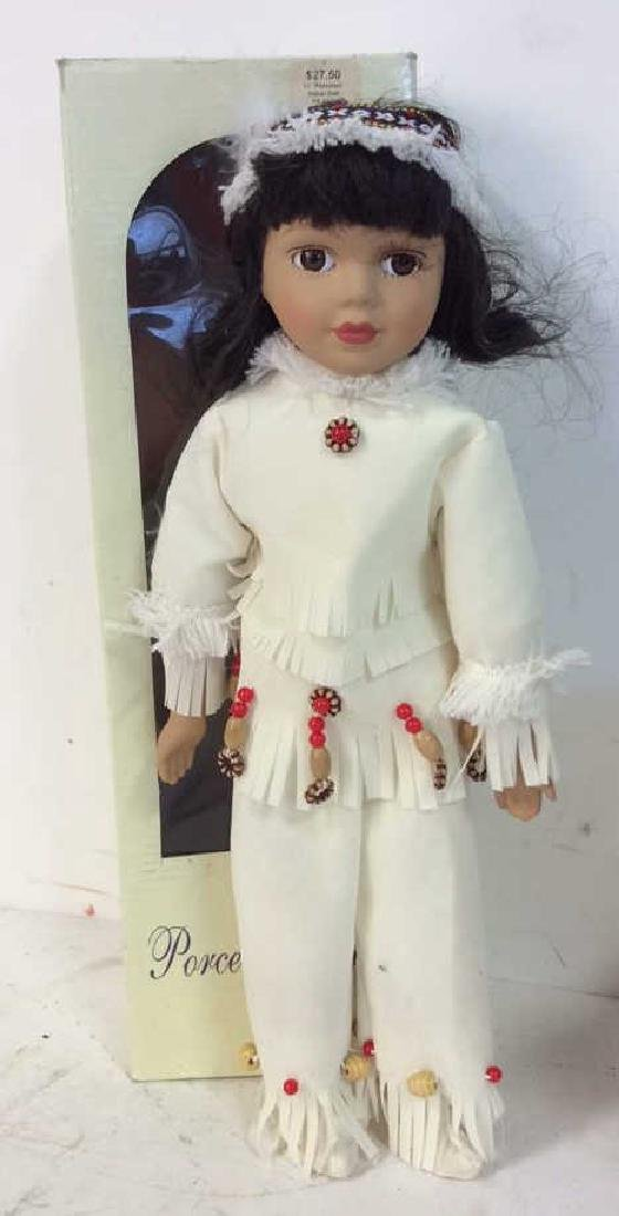 Collectible Porcelain  Native American Doll With