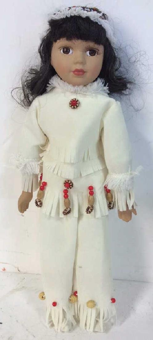 Collectible Porcelain  Native American Doll With - 3