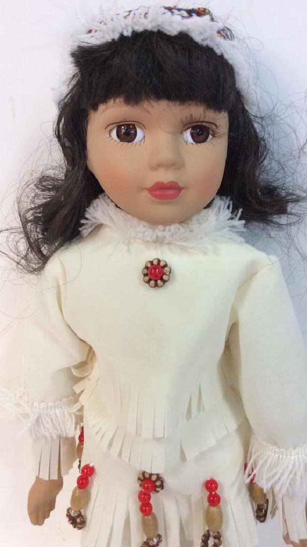 Collectible Porcelain  Native American Doll With - 4