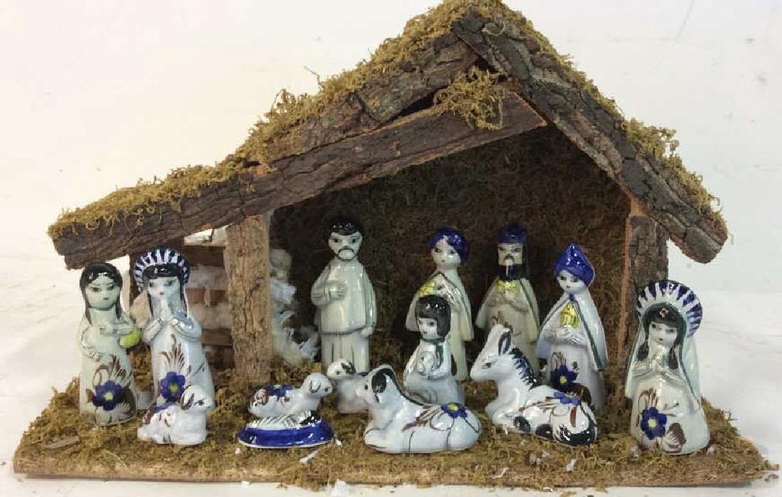 Holiday Nativity Set Manger Pottery Figures Some repair