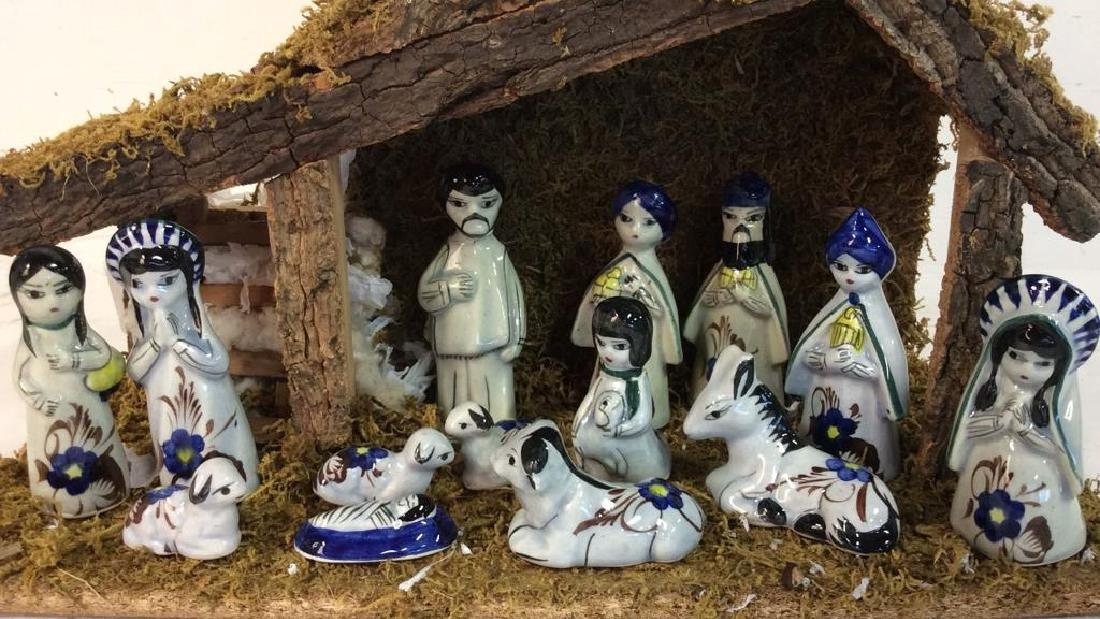 Holiday Nativity Set Manger Pottery Figures Some repair - 2