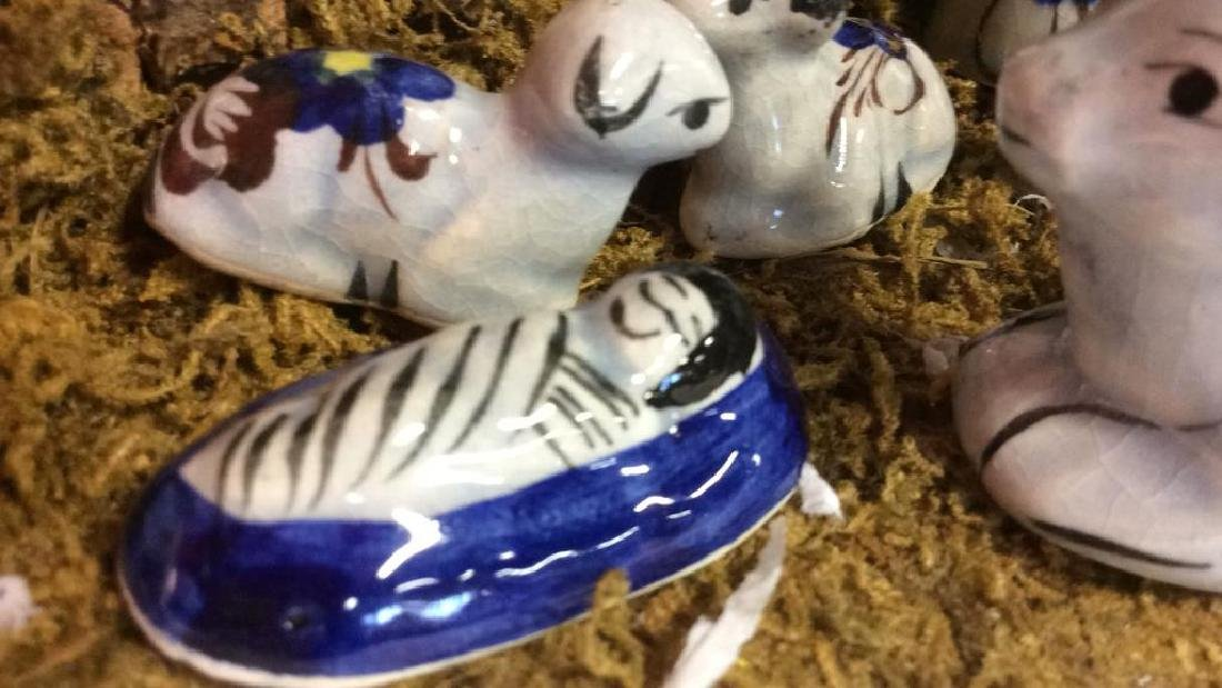 Holiday Nativity Set Manger Pottery Figures Some repair - 6
