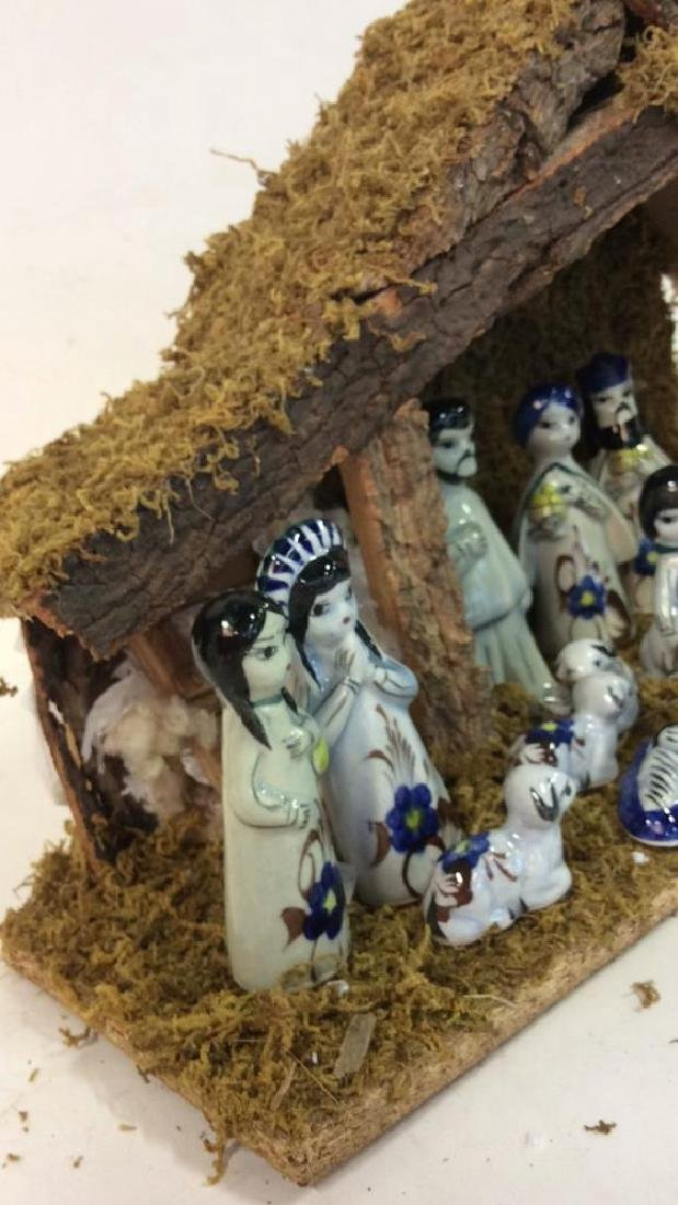 Holiday Nativity Set Manger Pottery Figures Some repair - 7