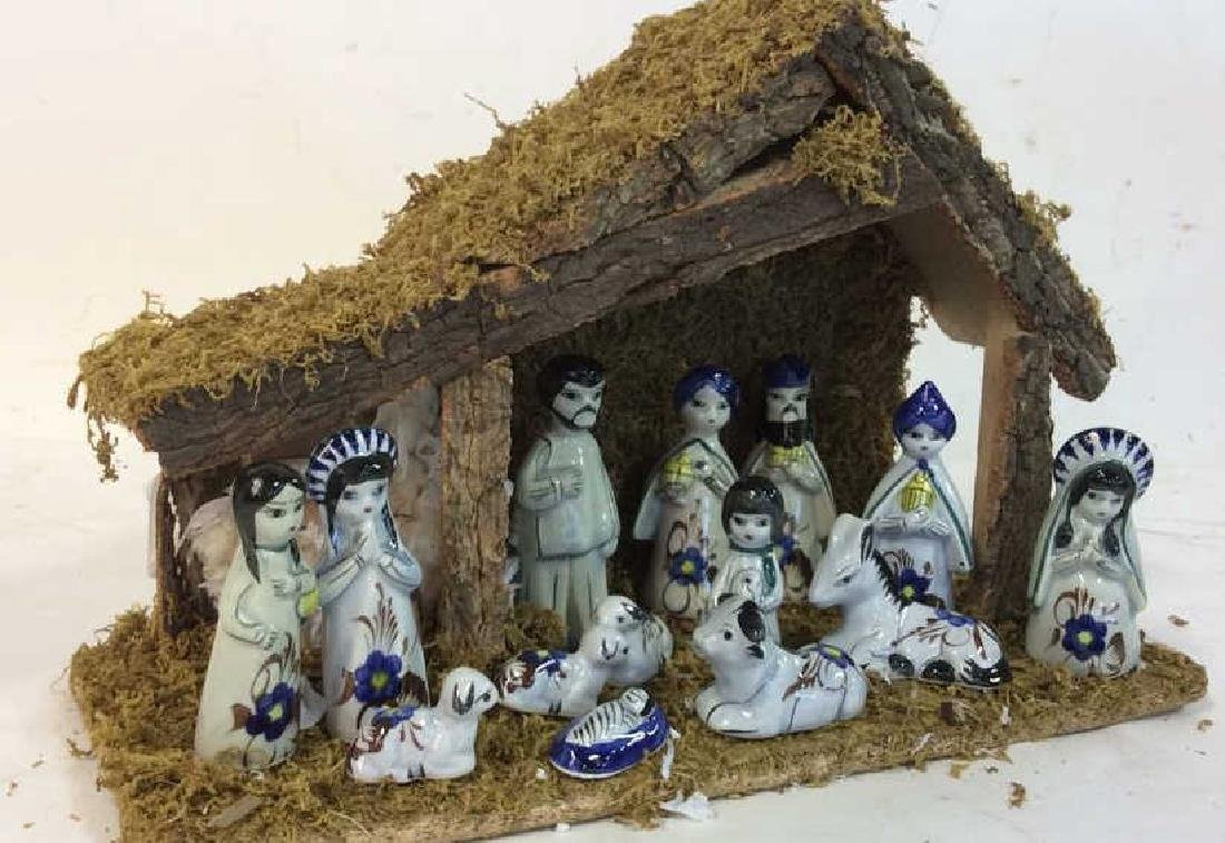 Holiday Nativity Set Manger Pottery Figures Some repair - 9