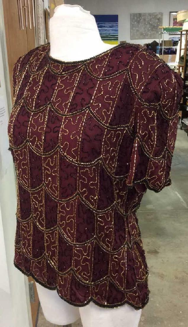 Vintage Gold Black Beaded Silk Top Vintage top made in