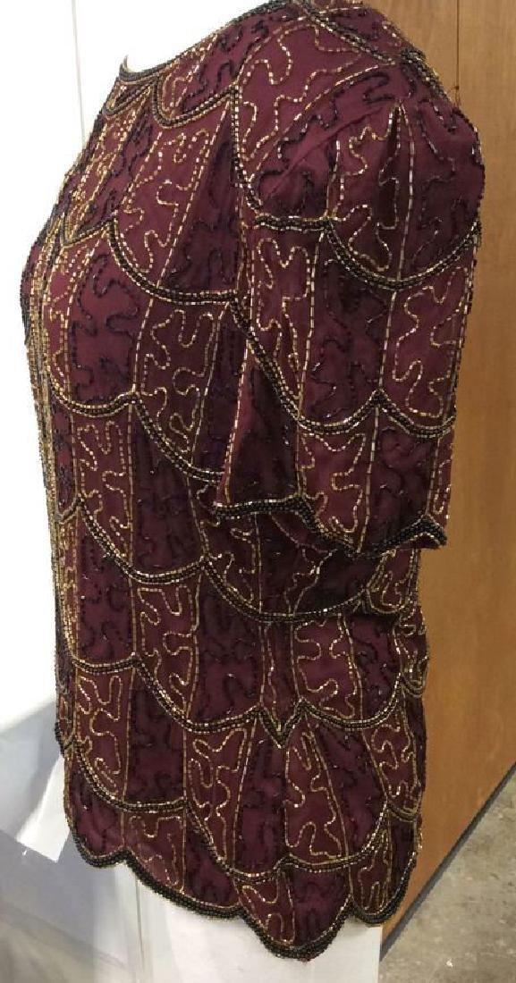 Vintage Gold Black Beaded Silk Top Vintage top made in - 4