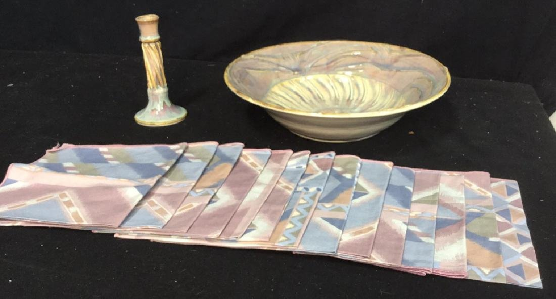 Pastel Ceramic Tabletops And Napkins Large ceramic bowl