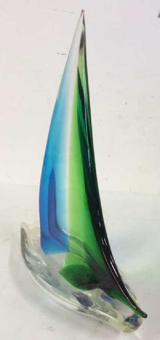 Blue Green Glass Sailboat Sculpture Labeled from the - 3