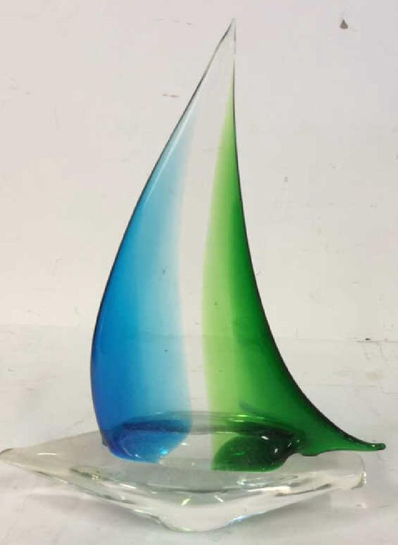 Blue Green Glass Sailboat Sculpture Labeled from the - 4