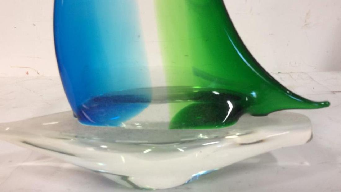 Blue Green Glass Sailboat Sculpture Labeled from the - 5