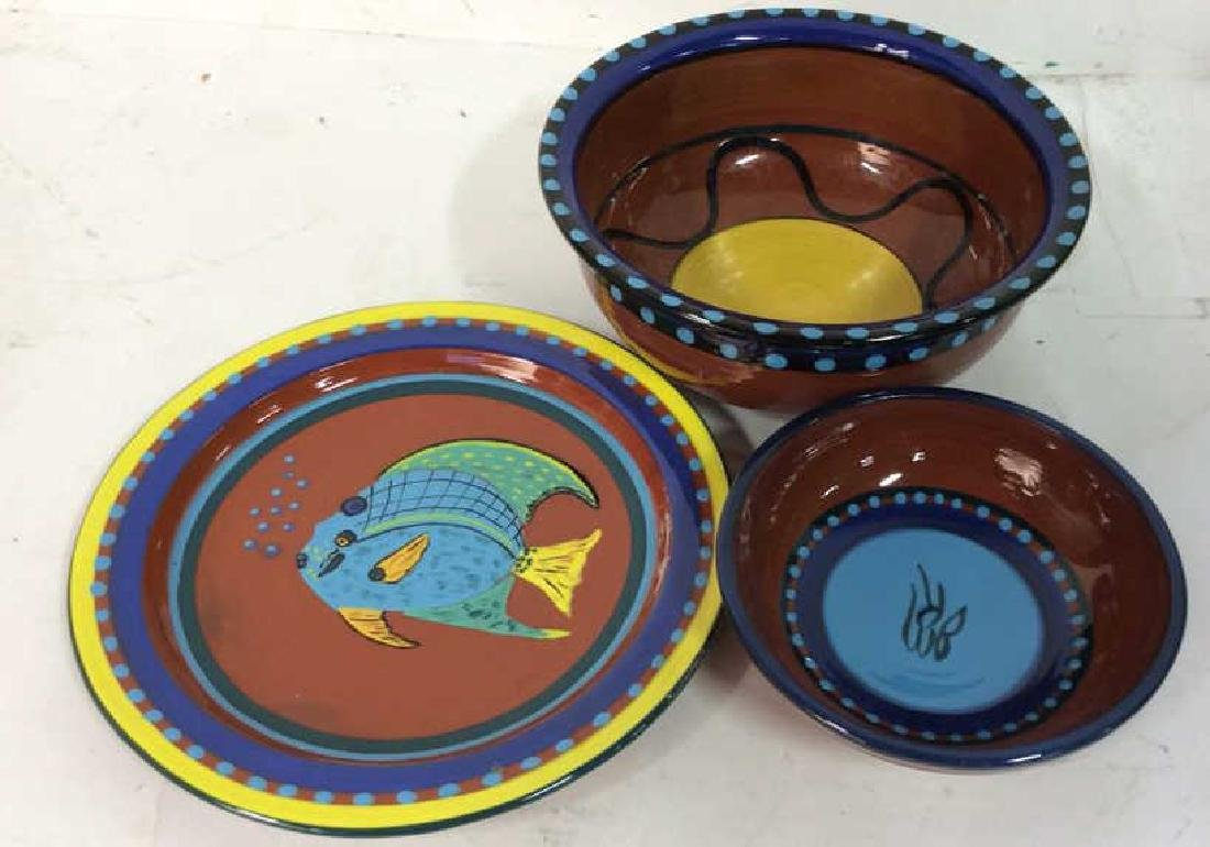 Three pottery table top items Pottery bowl diameter app
