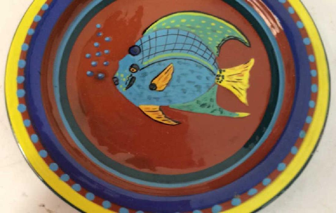 Three pottery table top items Pottery bowl diameter app - 2