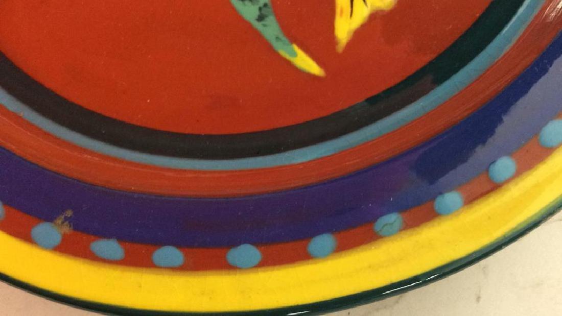Three pottery table top items Pottery bowl diameter app - 9
