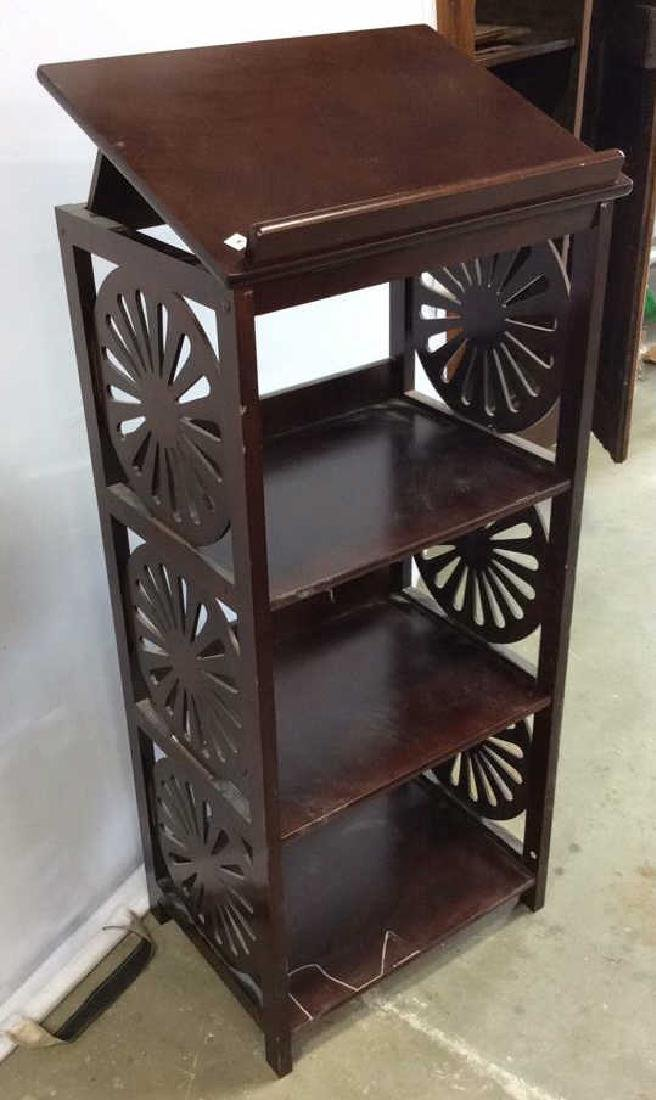 Vintage Book Stand With Display Top Mahogany Book stand - 2