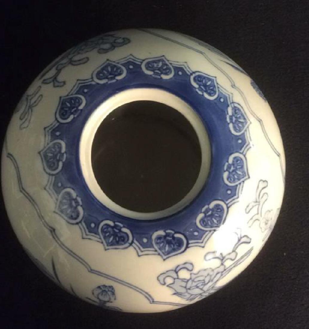 Asian Style Ginger Jar Vase Blue on white ginger Jar - 3
