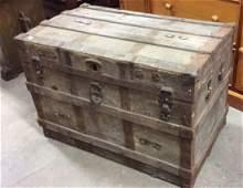 Circa 1800s Wood Metal Trunk Antique Trunk wood metal