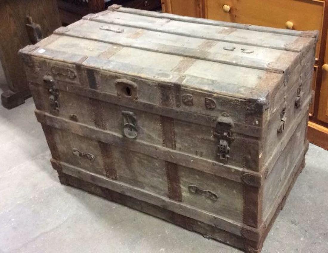 Circa 1800's Wood Metal Trunk Antique Trunk, wood metal