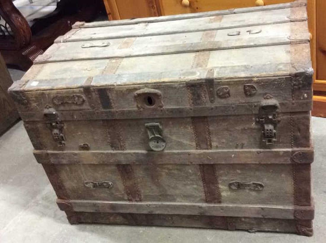 Circa 1800's Wood Metal Trunk Antique Trunk, wood metal - 2
