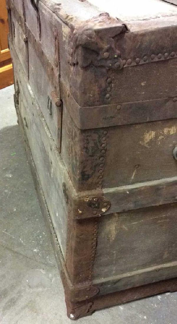 Circa 1800's Wood Metal Trunk Antique Trunk, wood metal - 5